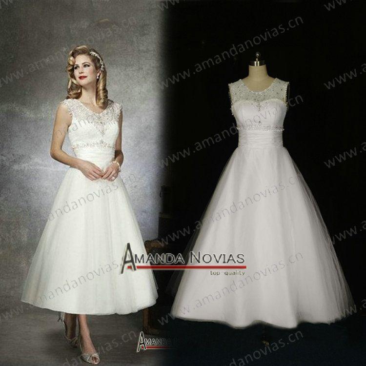 Wedding Dresses For Plus Size Older Brides | Actual Photos 2013 Vintage Tea  Length Wedding Dresses