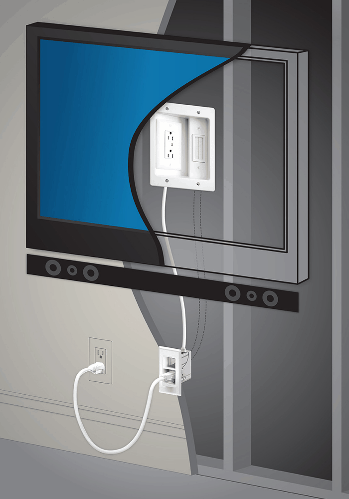 How To Easily Hide Power And Cables For A Wall Mounted Tv Hanging Tv On Wall Hiding Tv Cords On Wall Hidden Tv