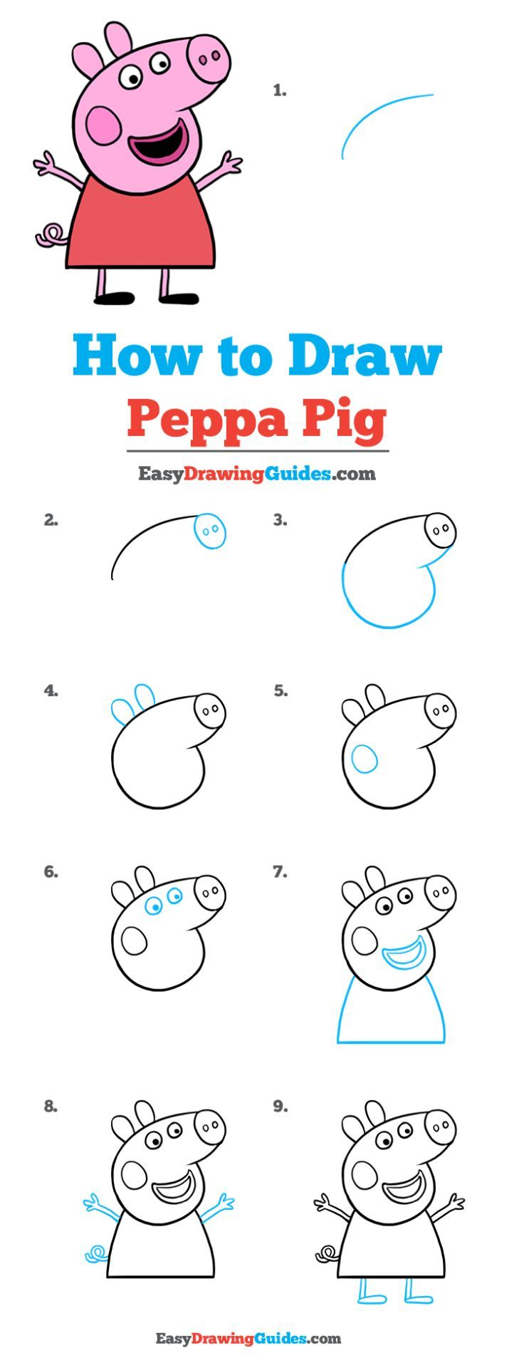 How to Draw Peppa Pig is part of Peppa pig drawing, Pig drawing easy, Easy drawings, Pig drawing, Peppa pig, Drawing tutorials for kids - Learn to draw Peppa Pig  This stepbystep tutorial makes it easy  Kids and beginners alike can now draw a great looking Peppa Pig
