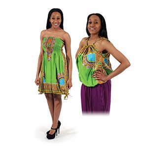 Traditional Print 2-IN-1 Dress/Top $13.95  This outfit can be worn as a slinky short dress or you can flip it around and wear it as a shirt with tied spaghetti straps. C-WS481