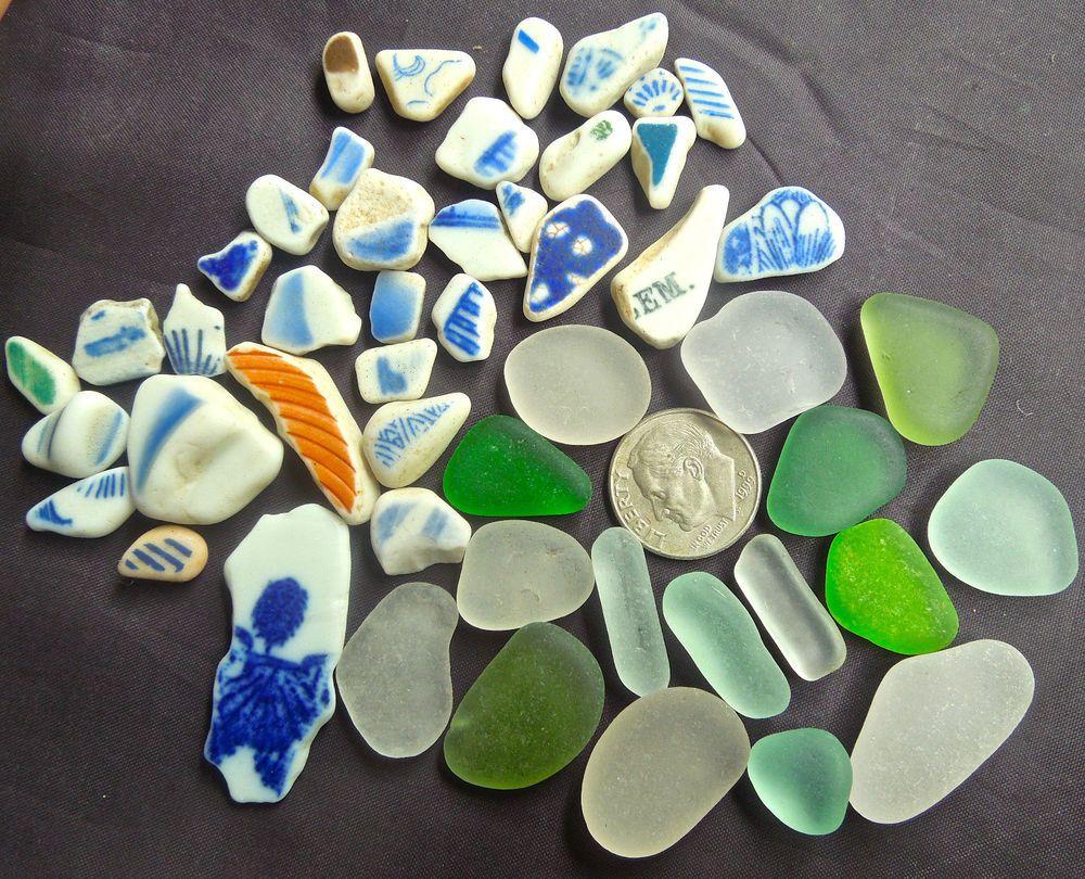 Beach Sea Glass of Hawaii's beaches!  SEA POTTERY! WRITING! Seaglass for PENDANTS Beach Glass for jewelry! $24 7/29
