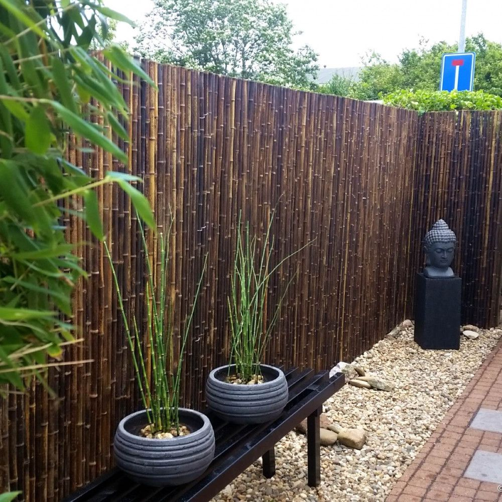 Black Bamboo Fence Roll 250 X 200 Cm In 2020 Bamboo Fence Bamboo Garden Backyard Fences