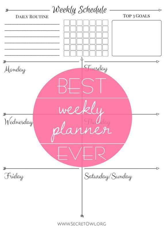 Week Planner Printable schedule  habit / by SecretOwlSociety