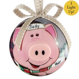 Pig Blinking Lights Non Breakable Personalized Ornament Cerdo