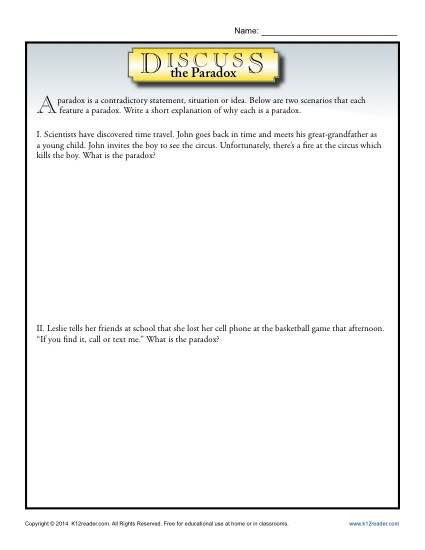 Discuss the Paradox Figurative Language Worksheets ...