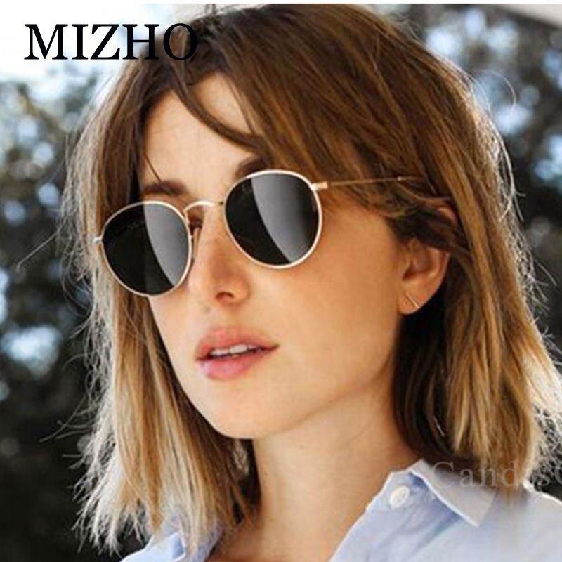 d1c1f23d185 MIZHO Celebrity 3447 Tiny Unisex Retro Metal Round Sunglasses Polarized  Male Brand Designer Small Face Hip Hop Sun Glasses Women.