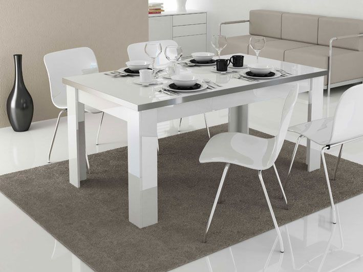 Mesa de comedor llorenze 180x80 en color blanco con for Muebles de comedor en color blanco