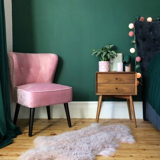 Photo of Penelope Accent Chair, Velvet Upholstered, Forest Inexperienced
