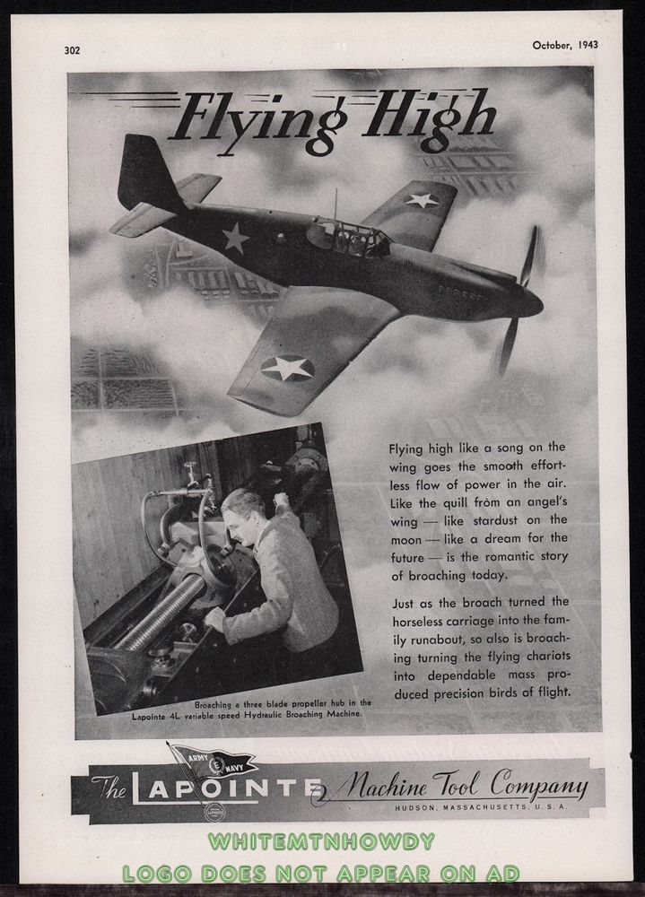 1943 WWII North American P-51 MUSTANG WWII WW2 Lapointe Machine Hudson, MA. AD