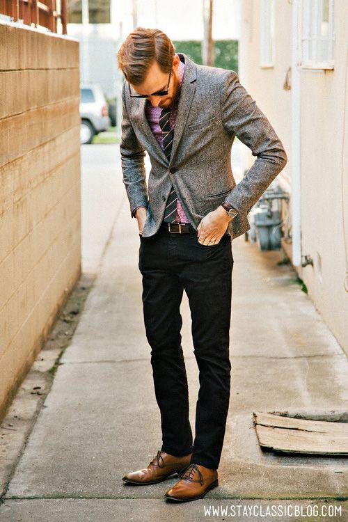 91340522655 blazer gris + pantalon negro y ZAPATOs CAFE