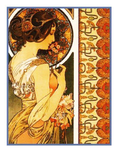 Cowslip by Alphonse Mucha Counted Cross Stitch or Counted Needlepoint Pattern