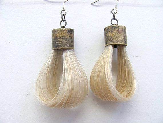 Horse Hair Earrings by lpjewelrydesigns on Etsy, $60.00