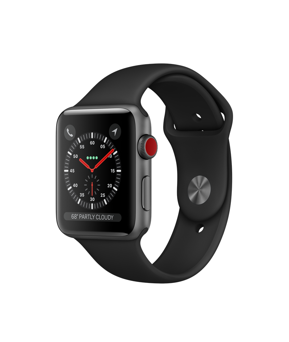 Watch Series 3 GPS + Cellular, 42mm Space Gray Aluminum