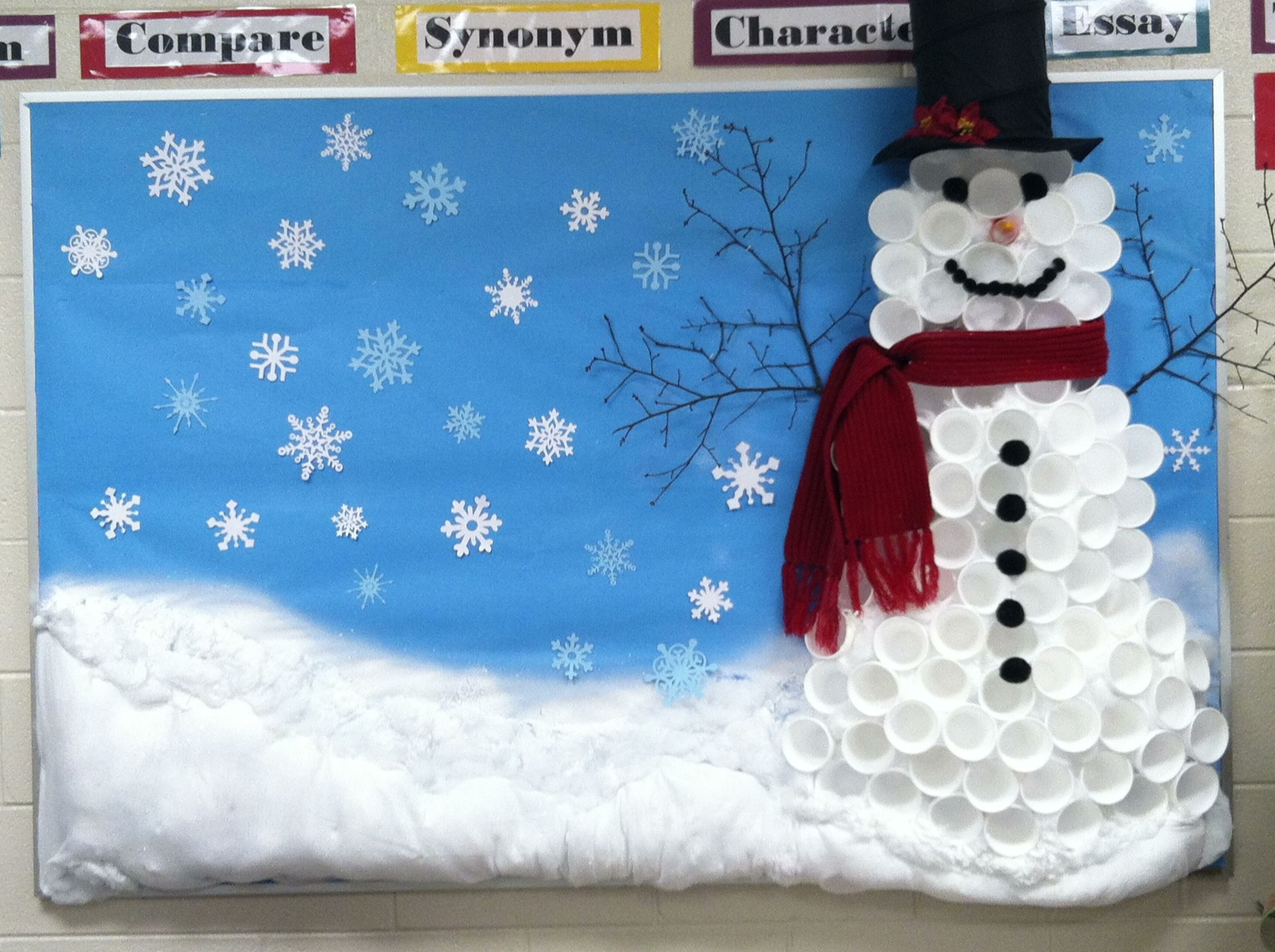 Winter Season Classroom Decorations ~ Winter bulletin board snowman made out of cups