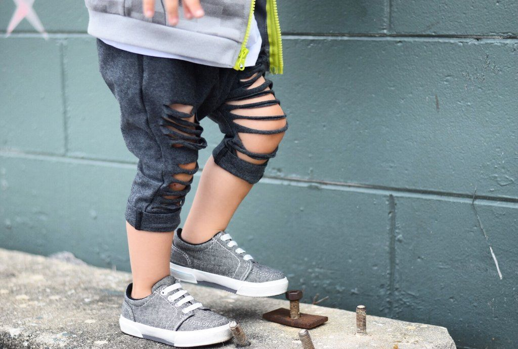 Charcoal Cropped Shreds Toddler Kids Baby Harem Pants
