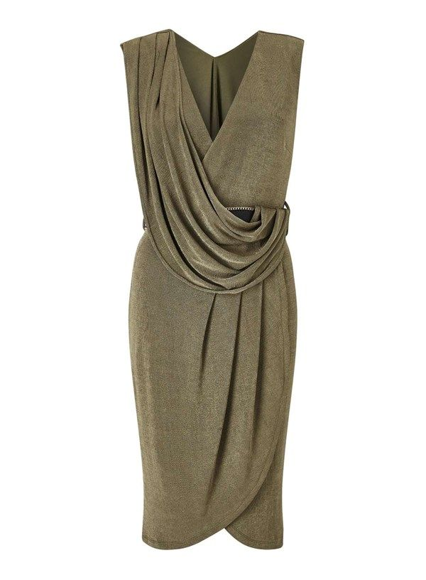 682a21410ce7 This belted drape dress in Khaki is seriously figure flattering and will  work for a romantic