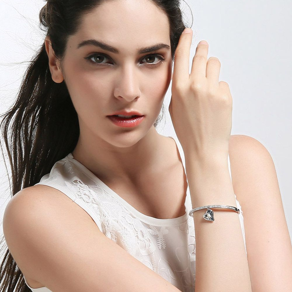 Charm heart bangles u bracelets for women austrian crystal