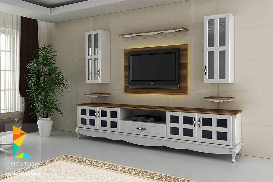 رفوف خشبية للتلفاز مكتبات شاشات Lcd مودرن Home Decor Home Tv Wall Decor