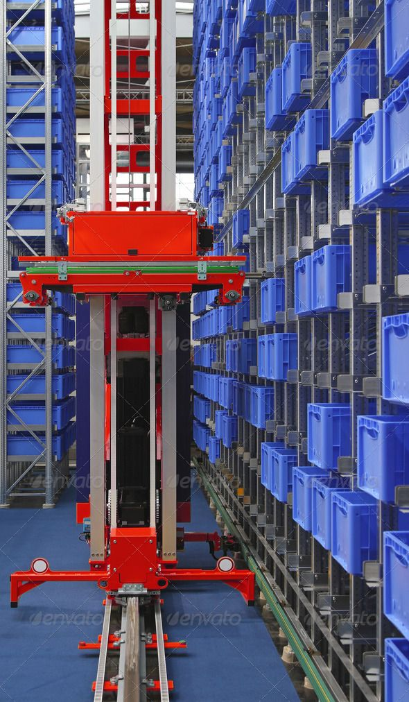 Automated Storage Warehouse With Blue Plastic Crates Automation