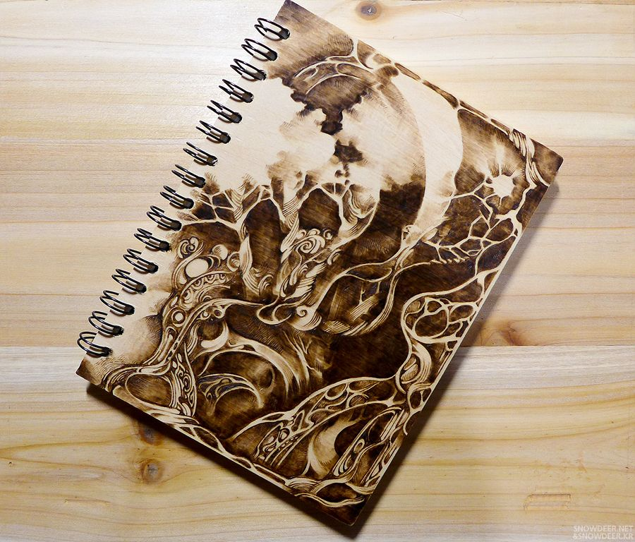 Pyrography Wood Burning On Wooden Notebook Youtube Video