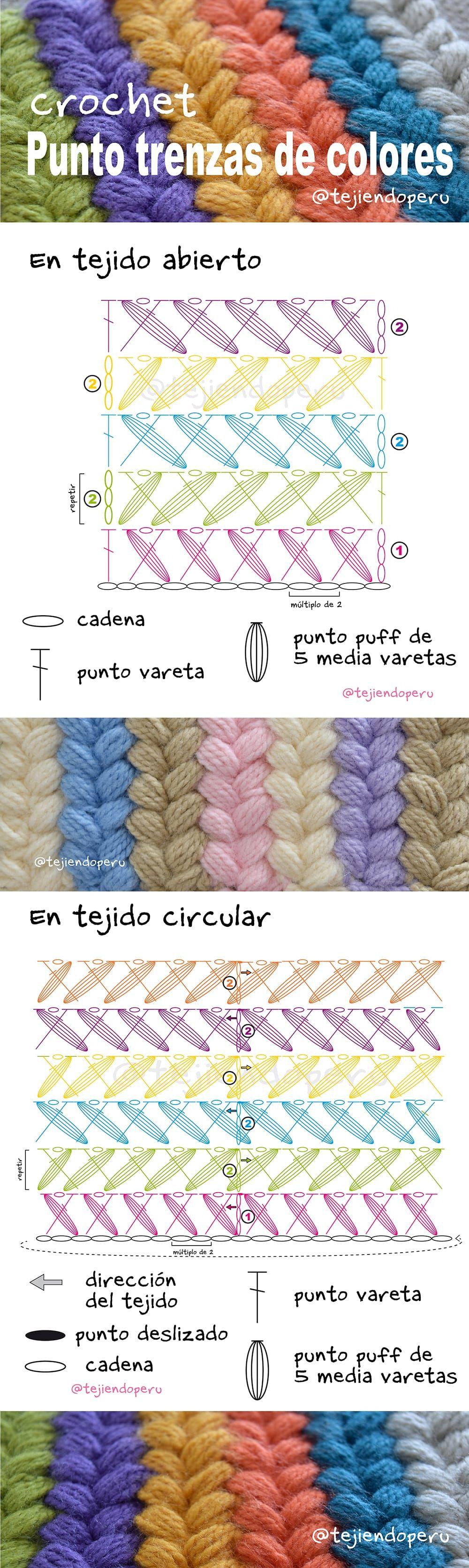 Punto trenzas de colores a crochet paso a paso | Crochet | Crochet ...