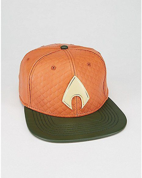 Faux Leather Aquaman Snapback Hat - Spencer s  5a26c86f396
