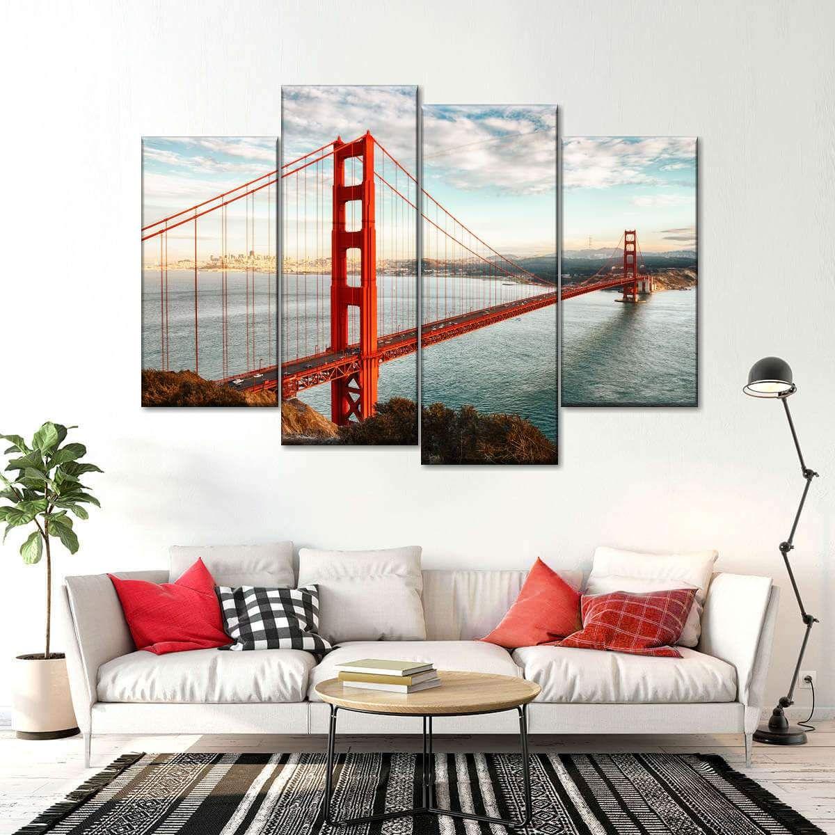 Breezy Summer At Golden Gate Bridge Multi Panel Canvas Wall Art Canvas Wall Art Golden Gate Bridge Painting Multi Panel Canvas