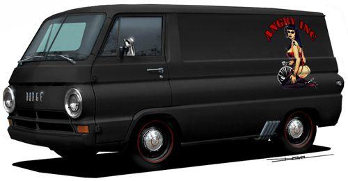 Hotrodded 60's Dodge Van. Hard to believe before the minivan, vans