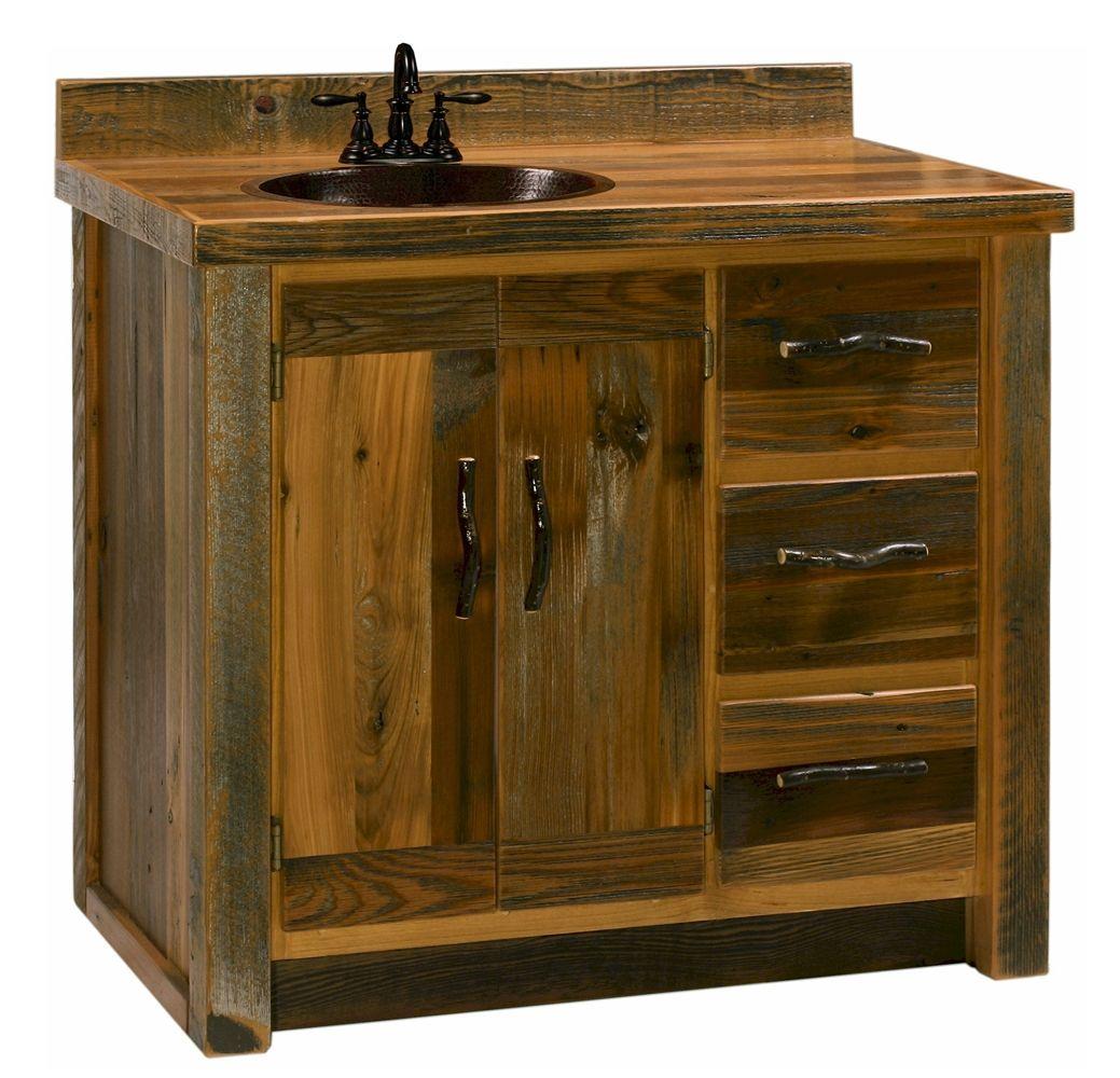 Reclaimed Barn Wood Vanity Cabinet ~ Recycled Wood Vanity ...