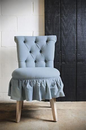 """Creative Co-Op - 20""""L x 24-1/2""""W x 33""""H Hackberry Wood Chair w/ Denim Chambray Upholstery"""