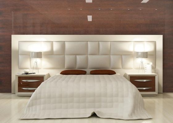 Cabecero con ancho opcional de 250 a 350 cm con plafón tapizado en ...
