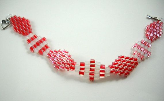 Beaded Bracelet In Red and White Valentines by SmileykitCreations, $15.00