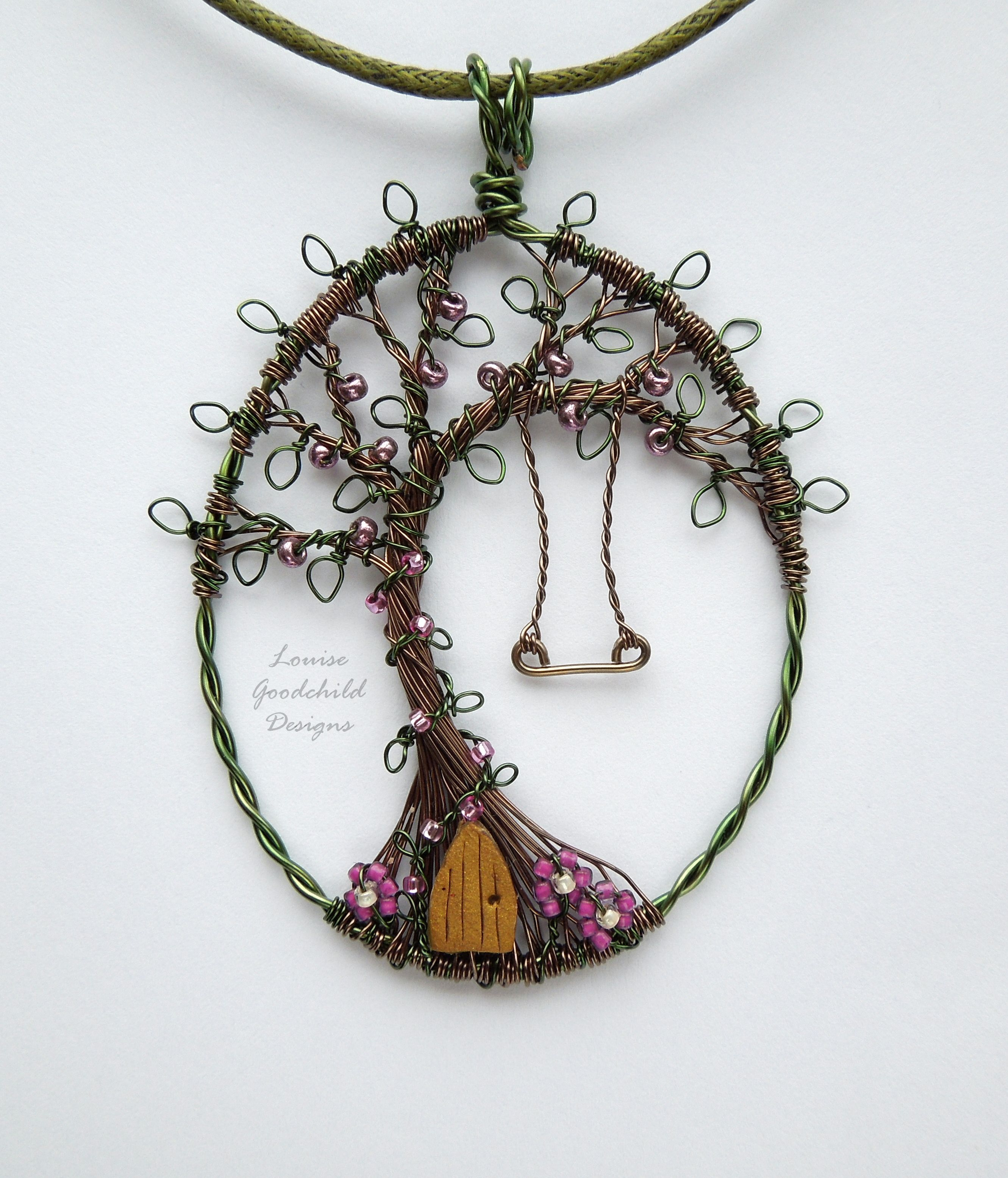 Tree House Pendant Original Wire With Swing And Fairy Door Copper Wiring In Houses Etsycom Uk Shop Louisegoodchild