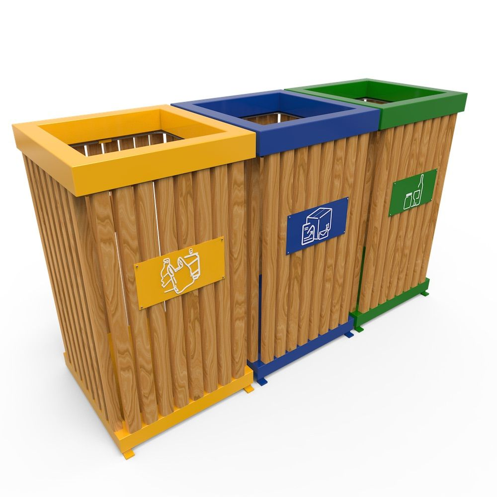 boras poubelle d 39 ext rieur pour tri s lectif en bois 50l 100l trash recycling cans trash. Black Bedroom Furniture Sets. Home Design Ideas