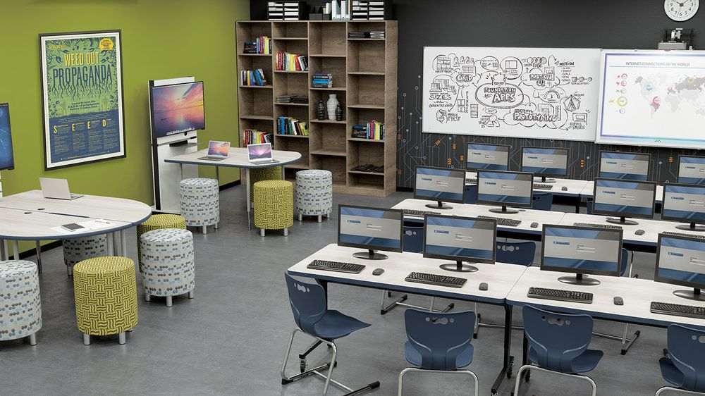 Miraculous Mooreco Media Table With Ottomans Computer Lab Stem Pdpeps Interior Chair Design Pdpepsorg
