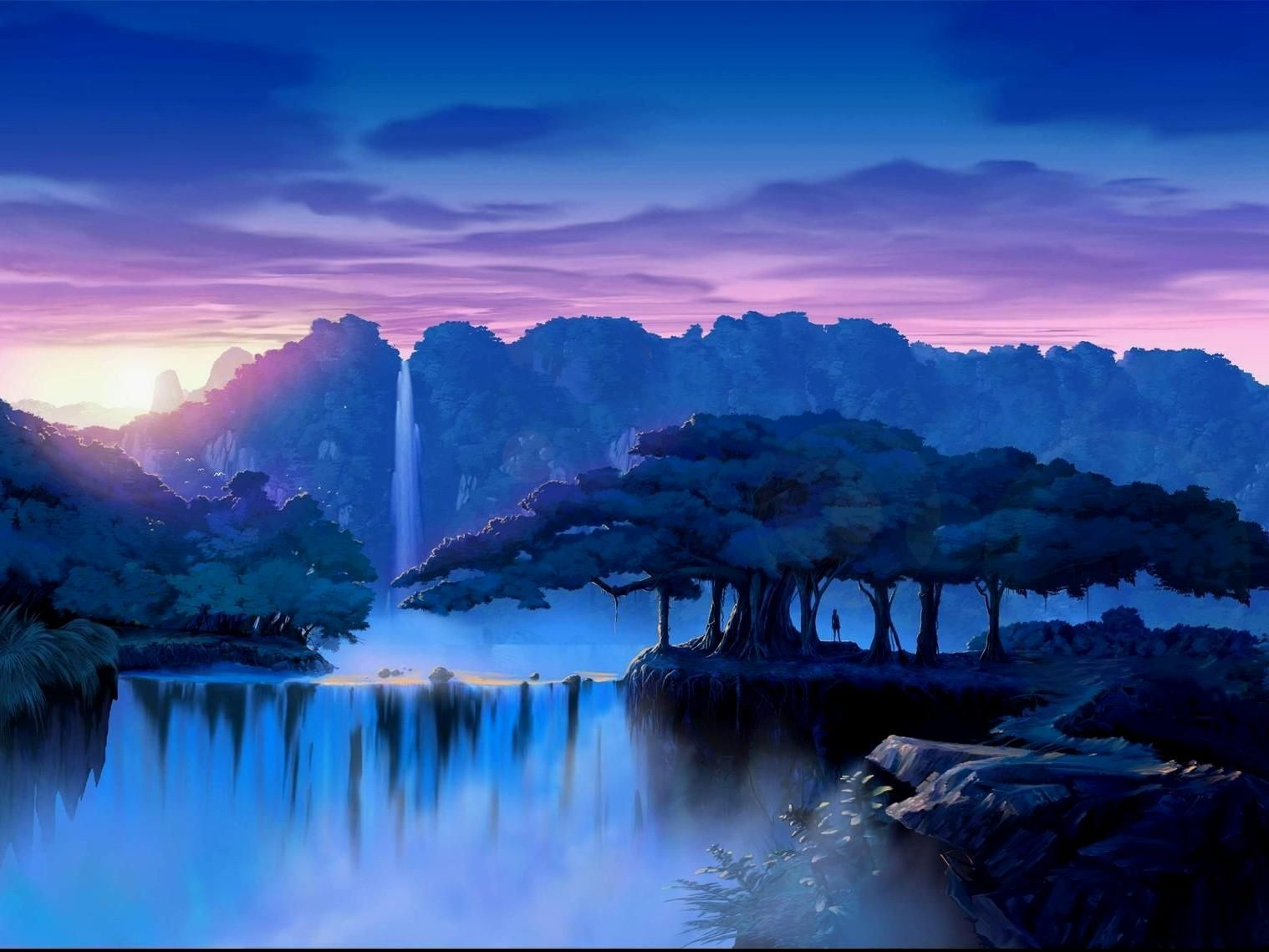 Landscape nature dream trees waterfalls waterfall sunset