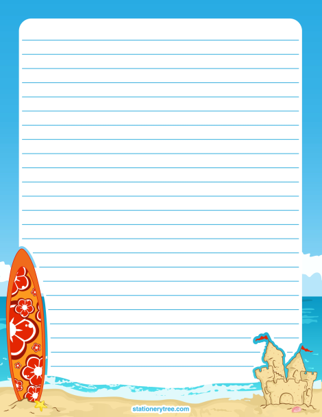 Printable Beach Stationery And Writing Paper Multiple Versions