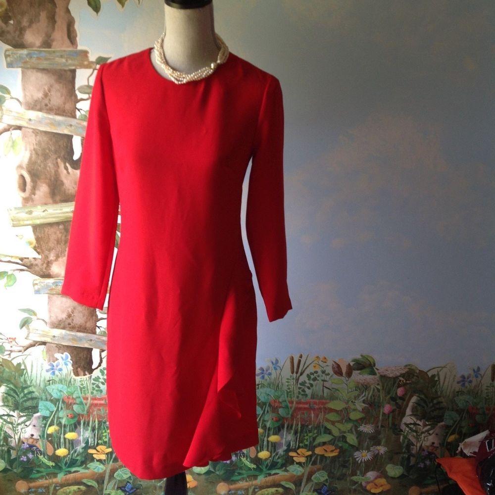 Banana republic red long sleeve ruffle dress size in things