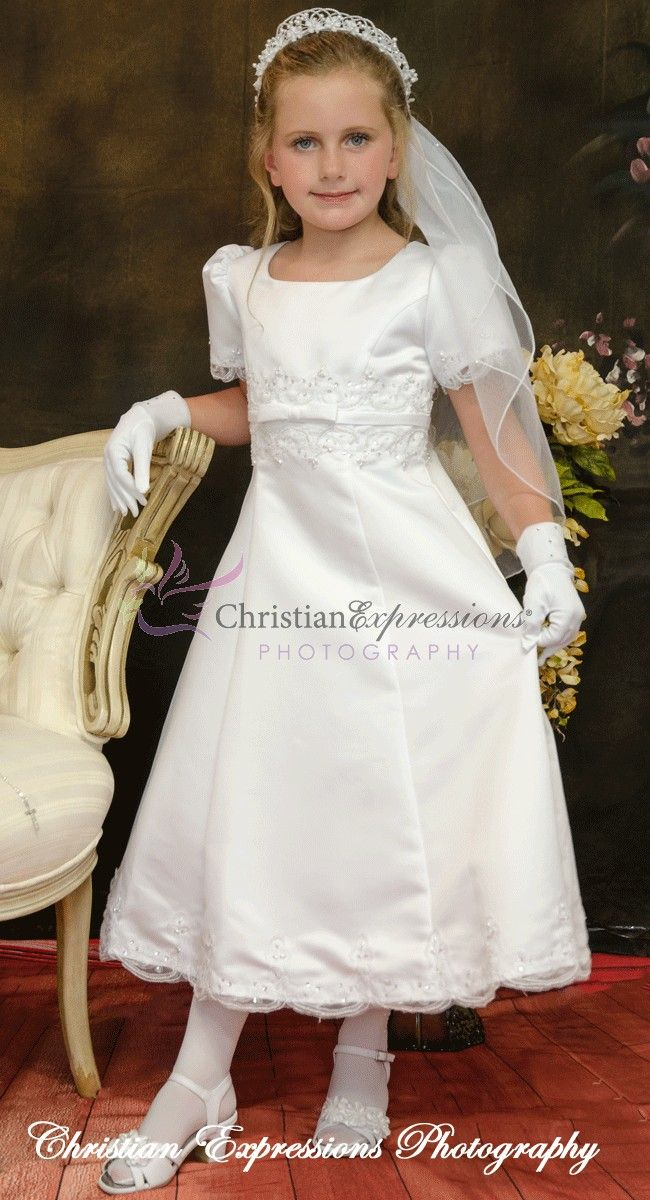 Short Sleeve Satin A Line First Communion Dress With Pearls And