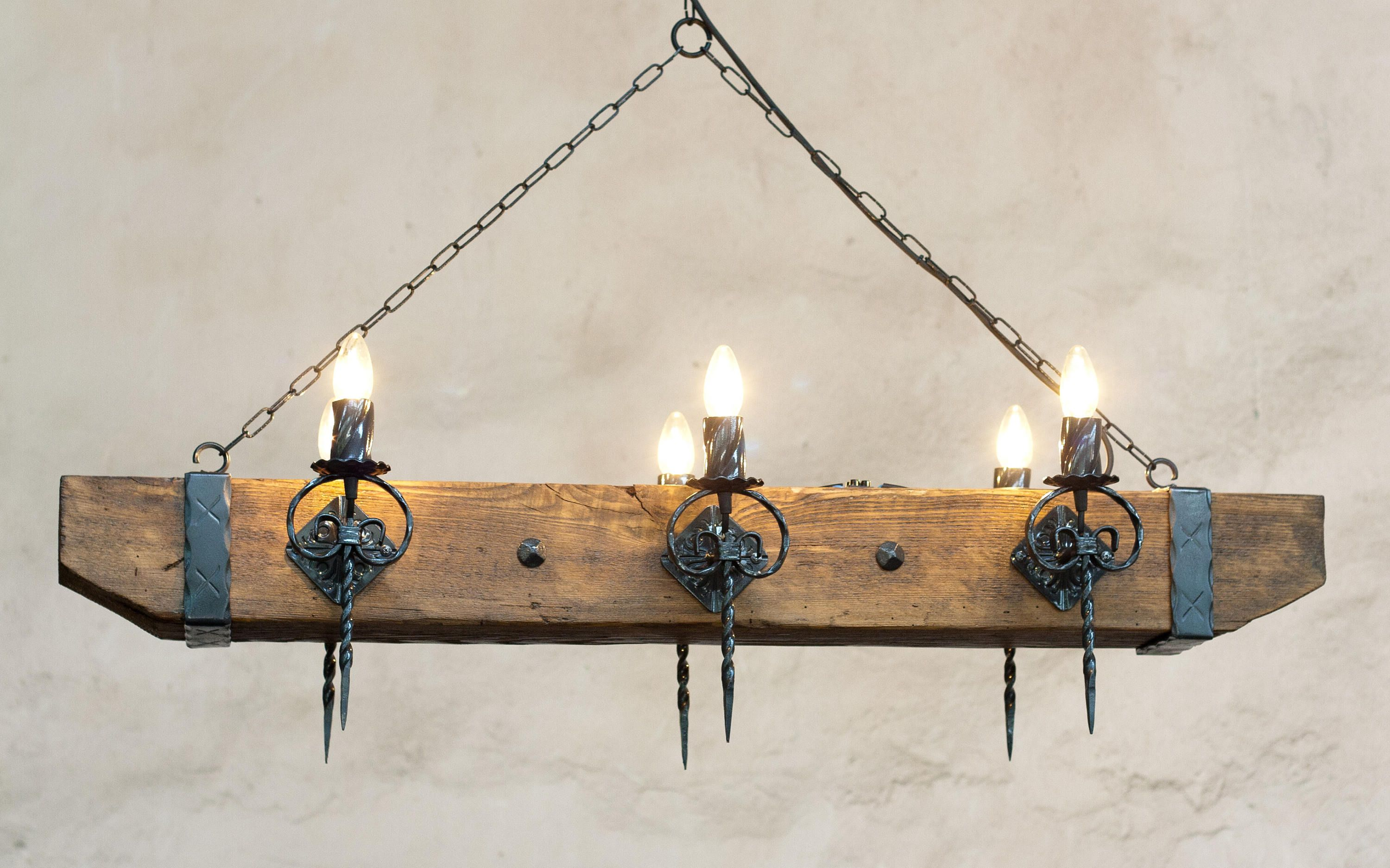 Wood Beam And Wrought Iron Chandelier For 6 Lights Etsy