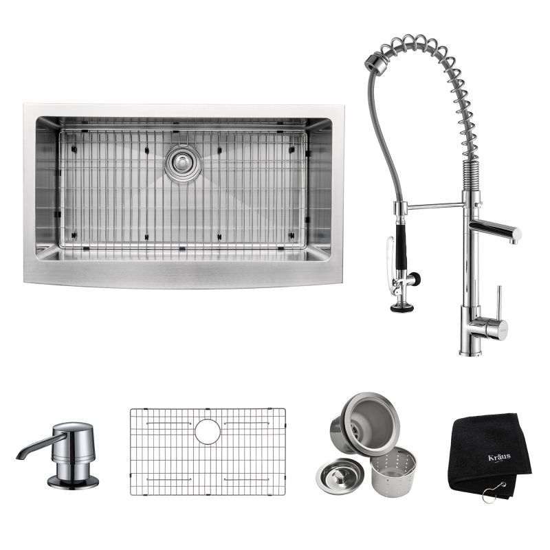 Kraus Commercial Kitchen Sink Faucet Combo Farmhouse Stainless