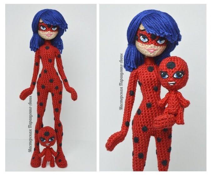 Вязаная кукла Леди Баг и Тикки Amigurumi cartoon doll. Lady Bug ...