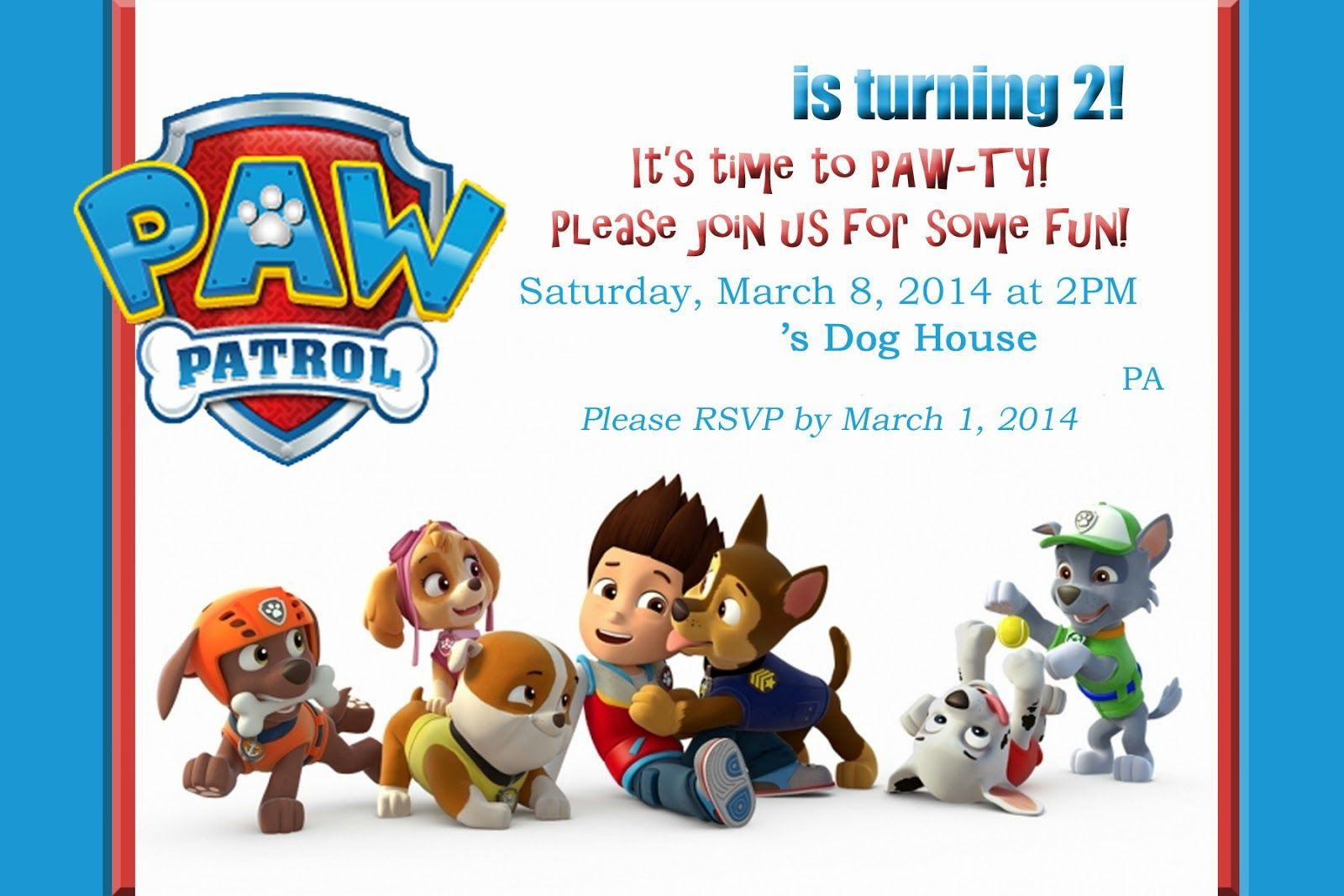 Create Own Paw Patrol Birthday Invites Designs Ideas