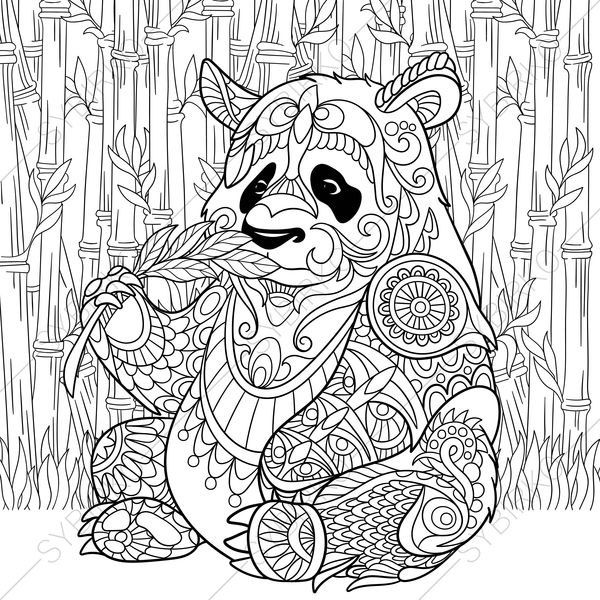 Panda Bear. 2 Coloring Pages. Animal coloring book pages for Adults ...
