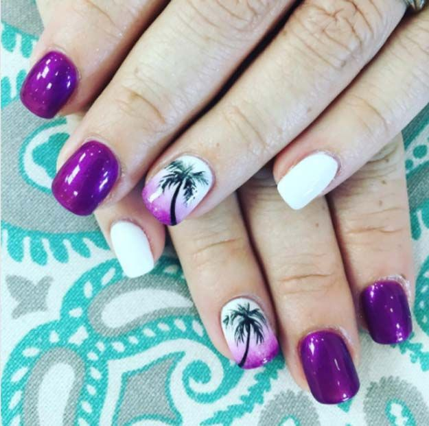 Nail Art Designs For Your Beach Vacation - Purple Sunset Beach Nail Art -  Give Yourself - 31 Nail Art Designs For Your Beach Vacation 31 Nail Art Designs