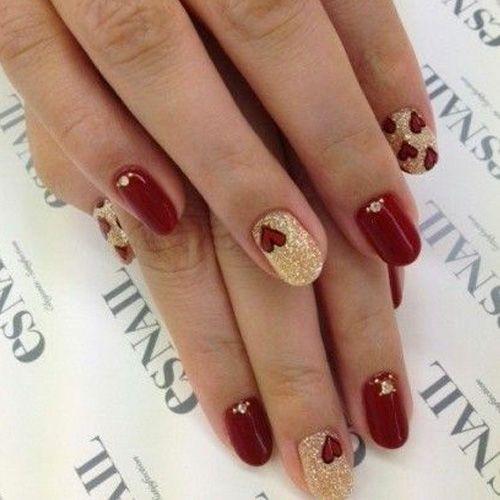 Valentine S Day Nails 114 Best Valentines Day Nails Dark Red