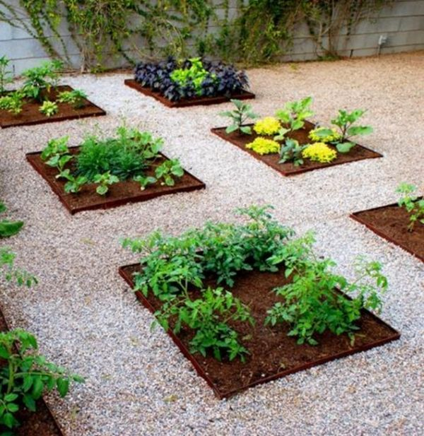 vegetable garden rectangular beds ideas small garden design gravel paths