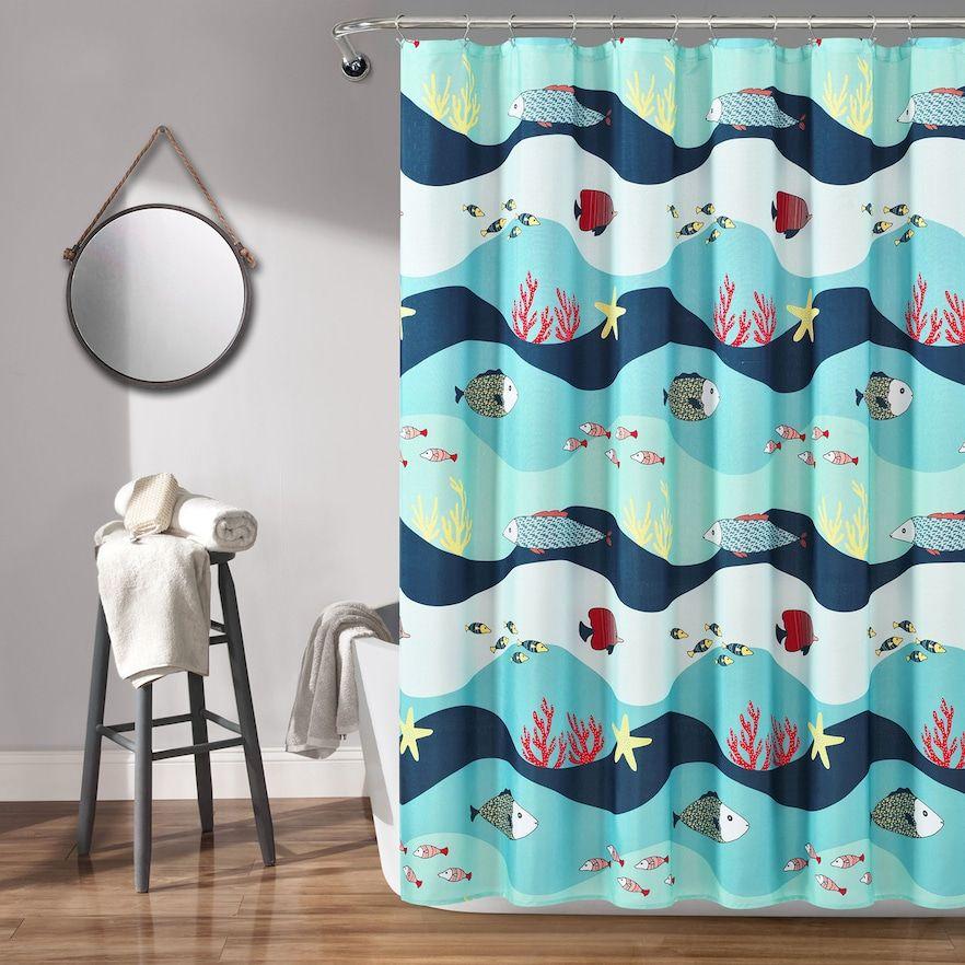Lush Decor Sea Life Shower Curtain Blue 72x72 In 2020 Curtains