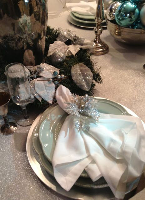 Blue and Sliver Christmas Tablescape