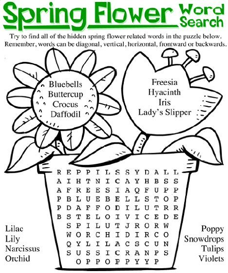 Spring Flowers Links Spring Words Flower Words Spring Word Search